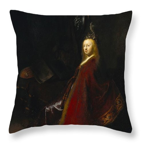 1631 Throw Pillow featuring the painting Minerva by Rembrandt van Rijn
