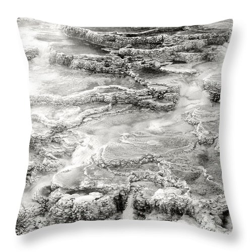 America Throw Pillow featuring the photograph Minerva Springs In Black And White Yellowstone National Park Wyoming by Dave Welling