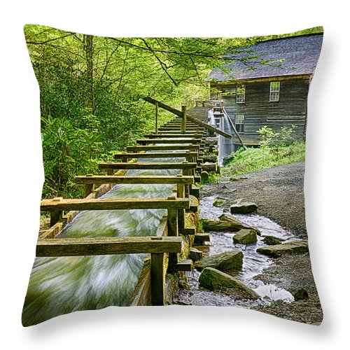 Mingus Mill Throw Pillow featuring the photograph Mingus Mill by Priscilla Burgers
