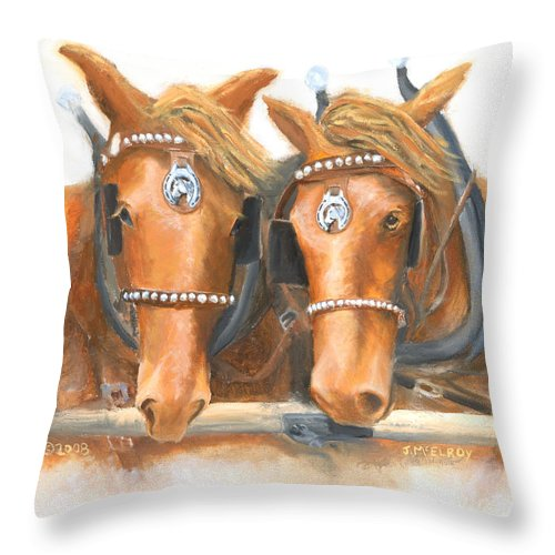 Horse Throw Pillow featuring the painting Mini And Jake by Jerry McElroy