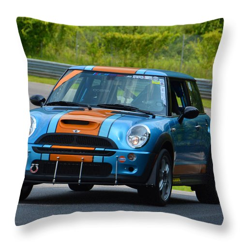 Mini Throw Pillow featuring the photograph Mini Cooper Climbing Hill by Mike Martin