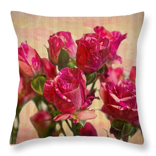 Miniature Roses Throw Pillow featuring the photograph Miniature Roses by Sandi OReilly