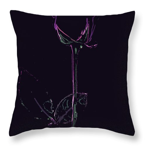 Rose Throw Pillow featuring the digital art Minimalist Purple Rose by Minding My Visions by Adri and Ray