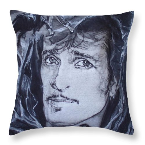 Charcoal;mink Deville;new York City;gina Lollabrigida Eyes ;cat Eyes;bullfight;toreador;swords;death;smoke;blues Throw Pillow featuring the drawing Willy Deville - Coup De Grace by Sean Connolly