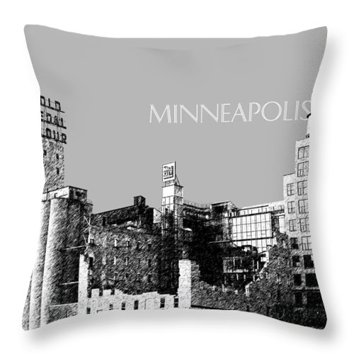 Architecture Throw Pillow featuring the digital art Minneapolis Skyline Mill City Museum - Silver by DB Artist