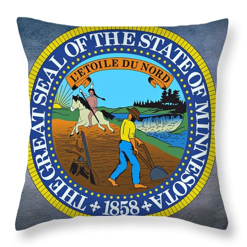 Minnesota Throw Pillow featuring the digital art Minnesota State Seal by Movie Poster Prints