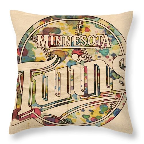 Minnesota Twins Throw Pillow featuring the painting Minnesota Twins Poster Vintage by Florian Rodarte