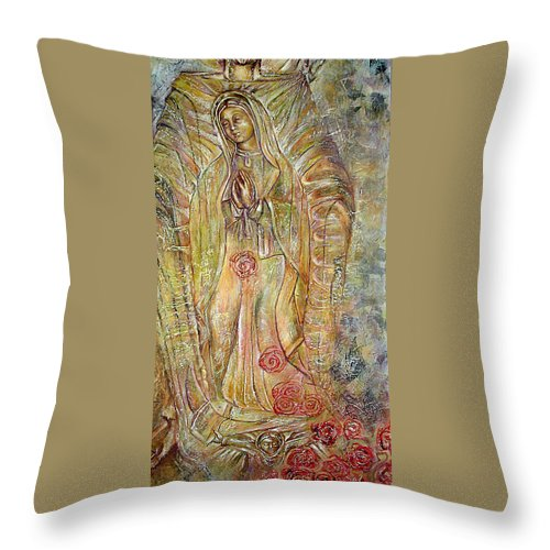 Virgin Throw Pillow featuring the painting Miracle Of A Virgin by Karina Llergo