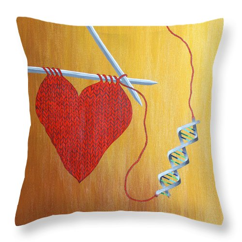 Heart Throw Pillow featuring the painting Miracle Of Dna by Carol De Bruyn
