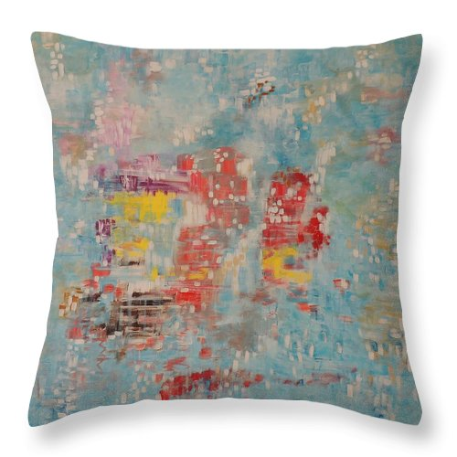 Abstract Paintings Throw Pillow featuring the painting Miracle On High Seas by Shahid Zuberi