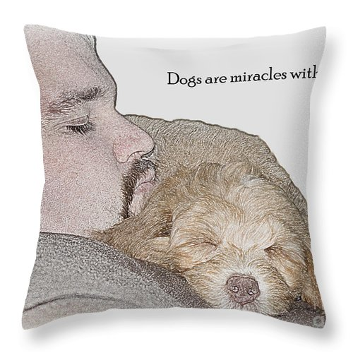 Multi Generational Labradoodle Throw Pillow featuring the photograph Miracles With Paws by Sandra Clark