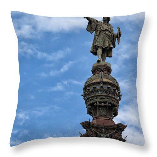 Columbus Throw Pillow featuring the photograph Mirador De Colom In Barcelona by Artur Bogacki