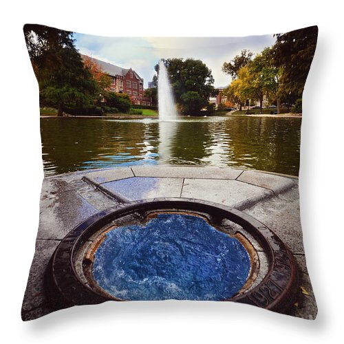 The Ohio State University Throw Pillow featuring the photograph Mirror Lake by Rachel Barrett