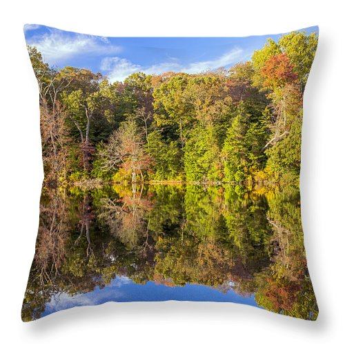 2d Throw Pillow featuring the photograph Mirror Reflections Of Fall by Brian Wallace
