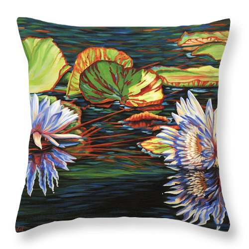 Lily Lilies Water Pond Pad Flower Flowers Floral Lake Throw Pillow featuring the painting Mirrored Lilies by Jane Girardot