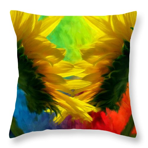 Sunflower Throw Pillow featuring the photograph Mirrorring Suns by Lourry Legarde