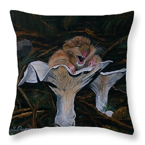 Nature Throw Pillow featuring the painting Mischievous Molly by Sharon Duguay