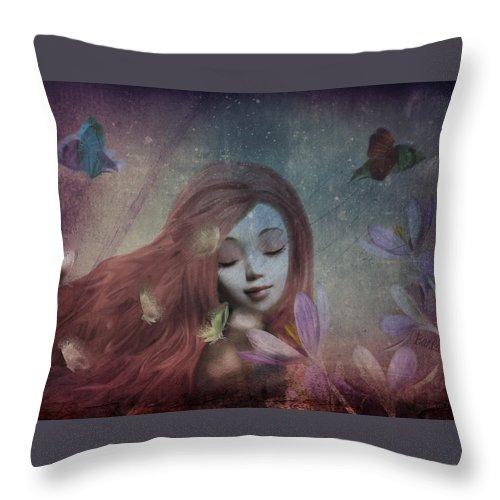 Portrait Throw Pillow featuring the digital art Miss Little Crocus by Barbara Orenya