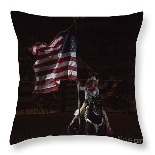 Horse Throw Pillow featuring the photograph Miss Pro Rodeo Usa by Janice Rae Pariza