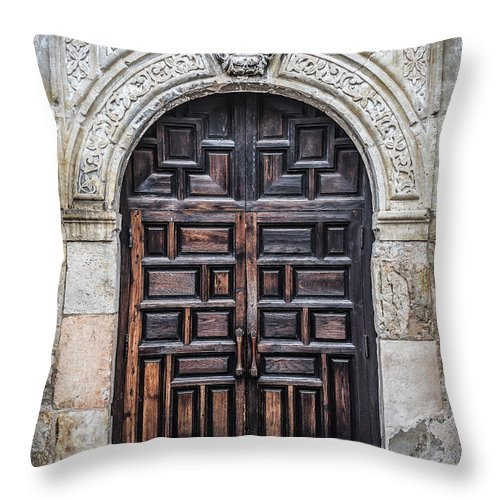 Mission Throw Pillow featuring the photograph Mission Doors by David Downs