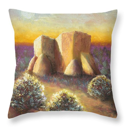 Landscape Throw Pillow featuring the painting Mission Imagined by Jerry McElroy