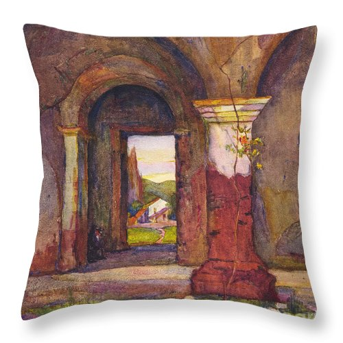 Mission Throw Pillow featuring the photograph Mission Of San Juan Capistrano By Rowena Meeks Abdy 1887-1945 by California Views Archives Mr Pat Hathaway Archives