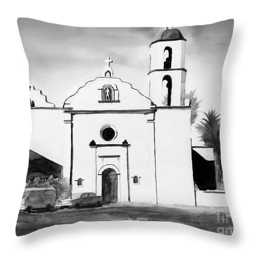 Mission Throw Pillow featuring the painting Mission San Luis Rey Bw Blue by Kip DeVore