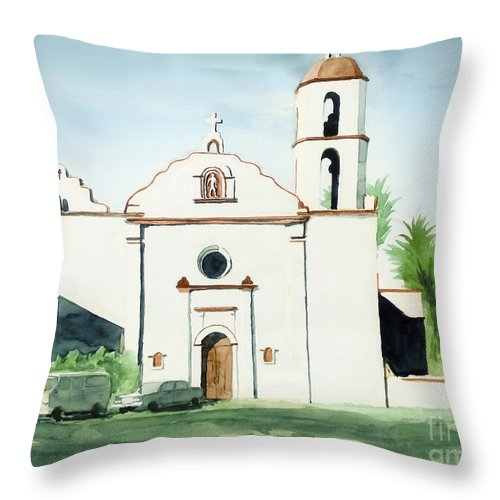 Mission San Luis Rey Throw Pillow featuring the painting Mission San Luis Rey by Kip DeVore