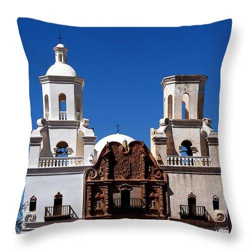 Church Throw Pillow featuring the photograph Mission San Xavier Del Bac by Joe Kozlowski
