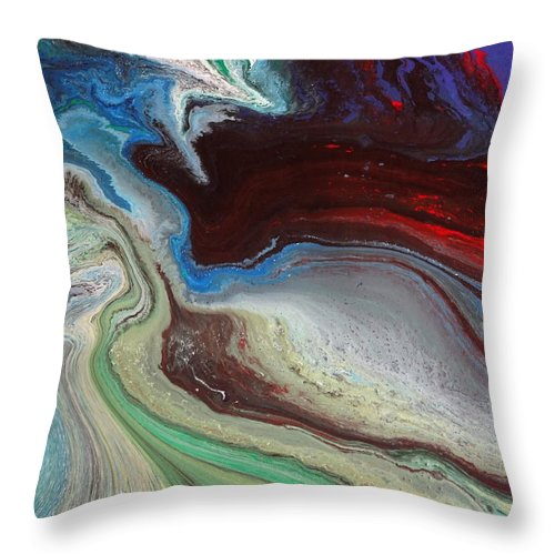 River Delta Planet Gravity Earth Infinity Serenity Immensity Univers Time Suys Colours Life Power Future Nature Human Throw Pillow featuring the painting The Last Vision Of My Soul by Jean-francois Suys