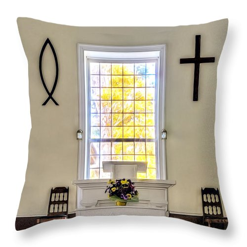 Antique Throw Pillow featuring the photograph Mississippi Church by Maria Coulson