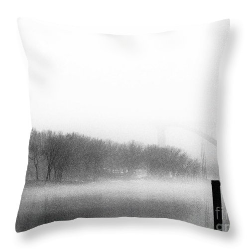 Mississippi Throw Pillow featuring the photograph Mississippi River Foggy Day by Amanda Hilden