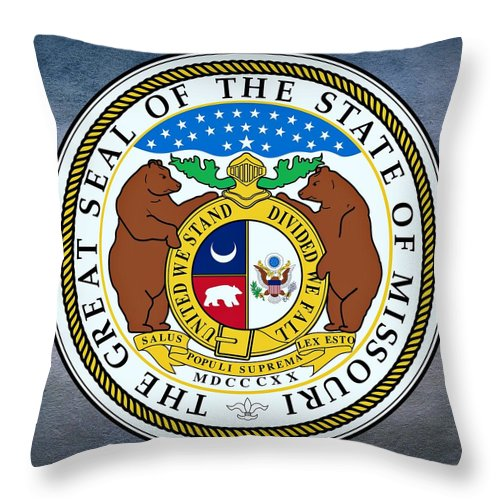Missouri Throw Pillow featuring the digital art Missouri State Seal by Movie Poster Prints