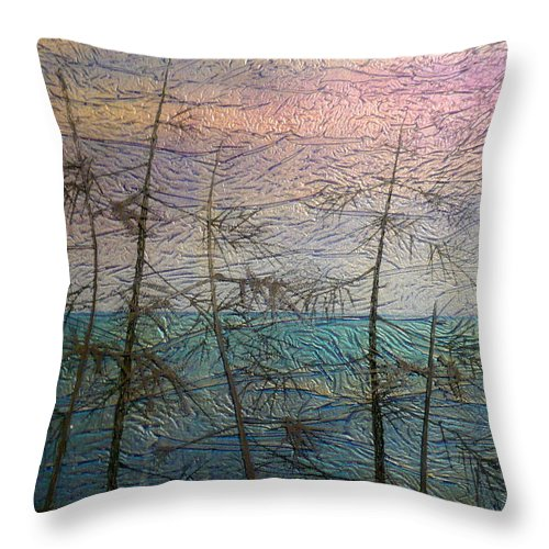 Landscape Throw Pillow featuring the painting Mist Fantasy by Rick Silas