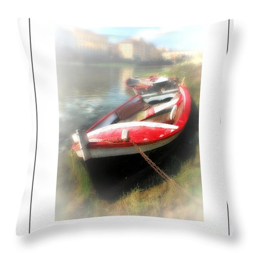 Florence - Italy Throw Pillow featuring the photograph Mist On The Arno Poster by Mike Nellums