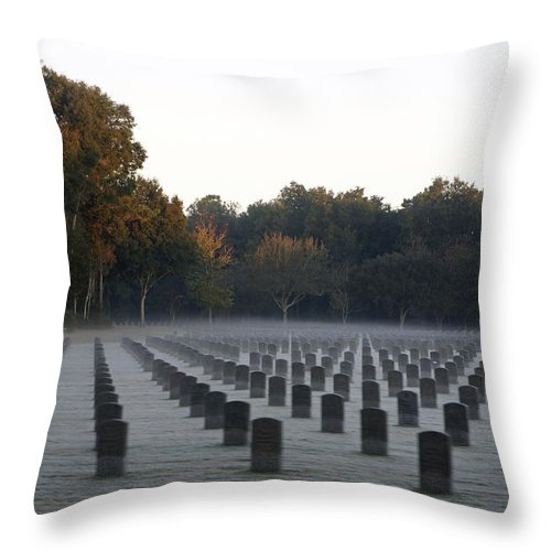Wreath Throw Pillow featuring the photograph Mist Over Heroes by Laurie Perry