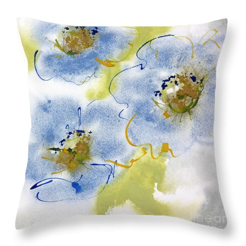 Watercolor Paintings Throw Pillow featuring the painting Misty Blue II by Chris Paschke