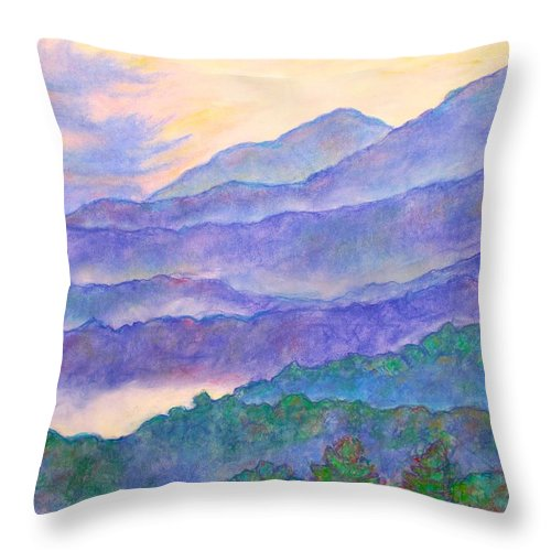 Mountains Throw Pillow featuring the painting Misty Blue Ridge by Kendall Kessler