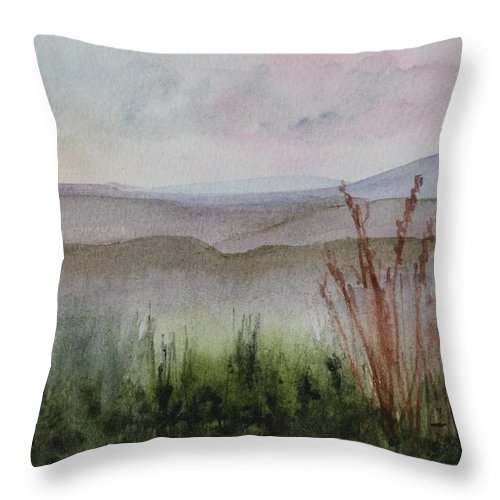 North East Kingdom Throw Pillow featuring the painting Misty Day In Nek by Donna Walsh