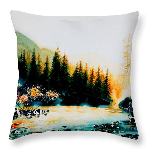 Landscape Painting Throw Pillow featuring the painting Misty Fishing Morning by Hanne Lore Koehler