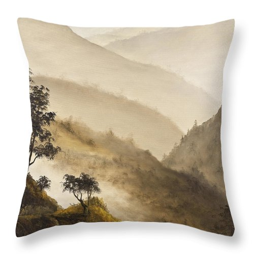 Landscape Throw Pillow featuring the painting Misty Hills by Darice Machel McGuire