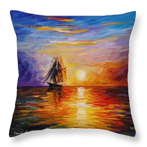 Oil Paintings Throw Pillow featuring the painting Misty Ship - Palette Knife Oil Painting On Canvas By Leonid Afremov by Leonid Afremov