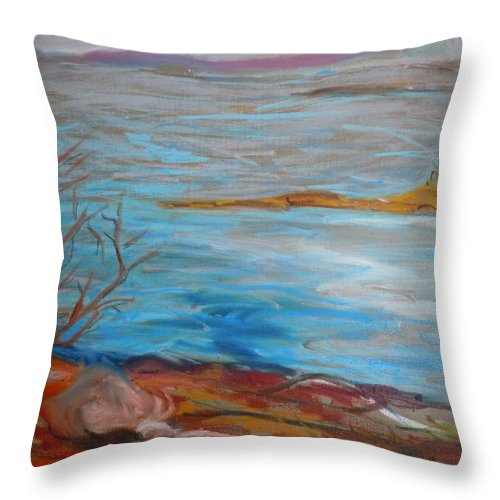 Landscape Throw Pillow featuring the painting Misty Surry by Francine Frank