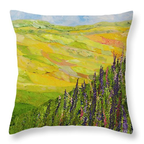 Landscape Throw Pillow featuring the painting Misty Valley by Allan P Friedlander