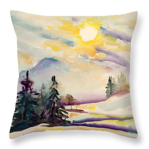 Alps Throw Pillow featuring the painting Misty Winter Afternoon In The Alps by Barbara Pommerenke