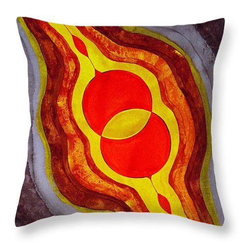 Painting Throw Pillow featuring the painting Mitosis Of Worlds Original Painting by Sol Luckman