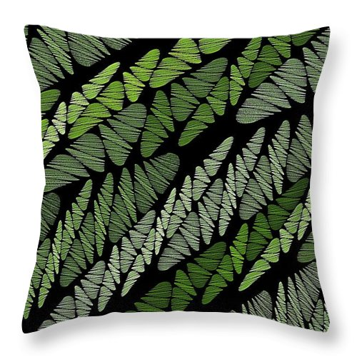 Green Tones Throw Pillow featuring the digital art Mixed Assembly-green by Doug Morgan