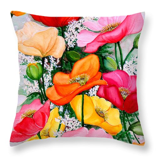 Poppies Throw Pillow featuring the painting Mixed Poppies by Karin Dawn Kelshall- Best