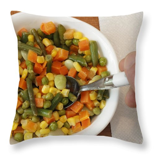 Food Throw Pillow featuring the photograph Mixed Vegetables Meal by Lee Serenethos