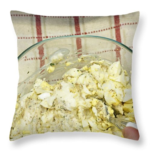 Egg Salad Throw Pillow featuring the photograph Mixing Egg Salad Ingredients by Lee Serenethos